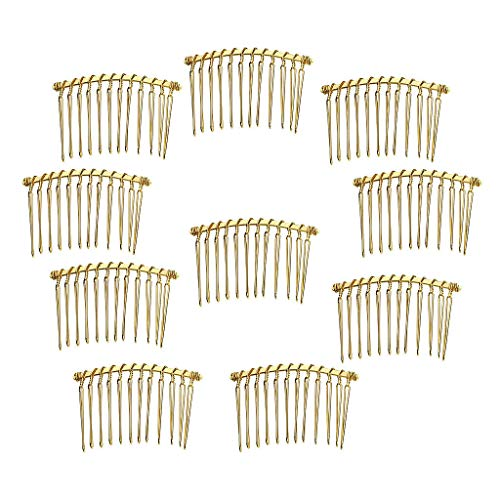 (10x Sidecombs 12 Teeth Side Combs Metal Hair Slides Women Bridal Fascinator (Color - Gold))