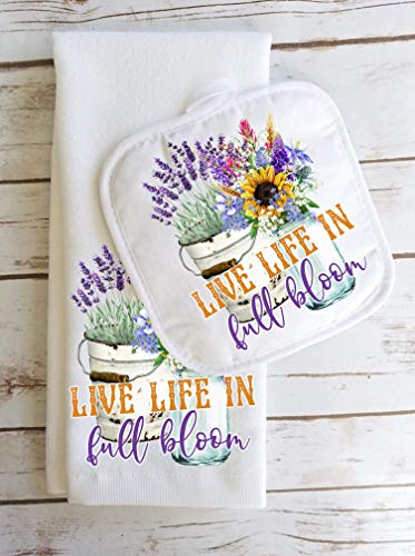 (Live Life Kitchen Towel and Potholder Home Decor Mother's Day Gift Set)