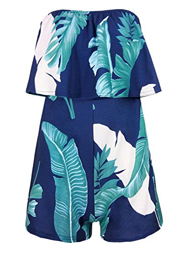 Futurino Women's Floral Print Strapeless Layer Top Rompers and Jumpsuits (2, plantain Leaf - Leaf Navy Print