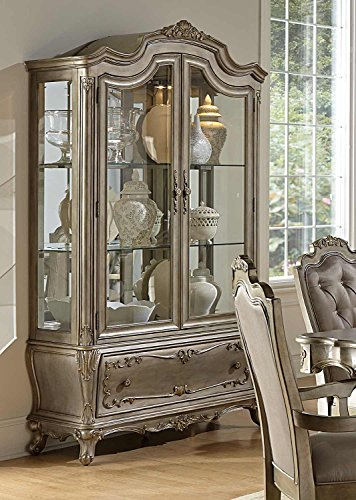 Florentina China & Buffet In Taupe Color Faux Silk Rich Silver - With Gold - Traditional China Cabinet