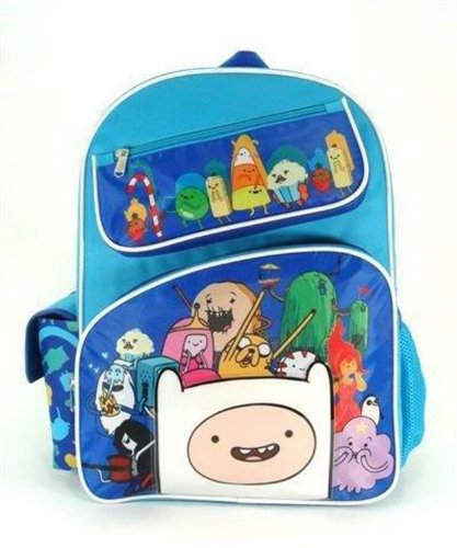 Full Size Blue Adventure Time Cast with Slanted Zipper Pockets Kids Backpack -