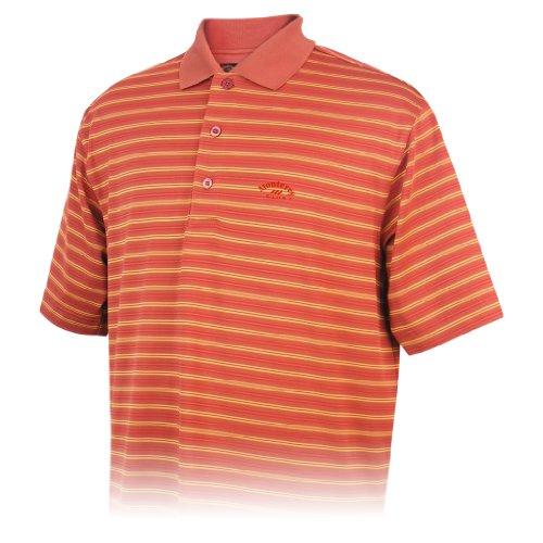 (Monterey Club Mens Dry Swing Dotted Stripe Jacquard Polo Shirt #1614 (Burnt Red/Jaffa Orange, Large))