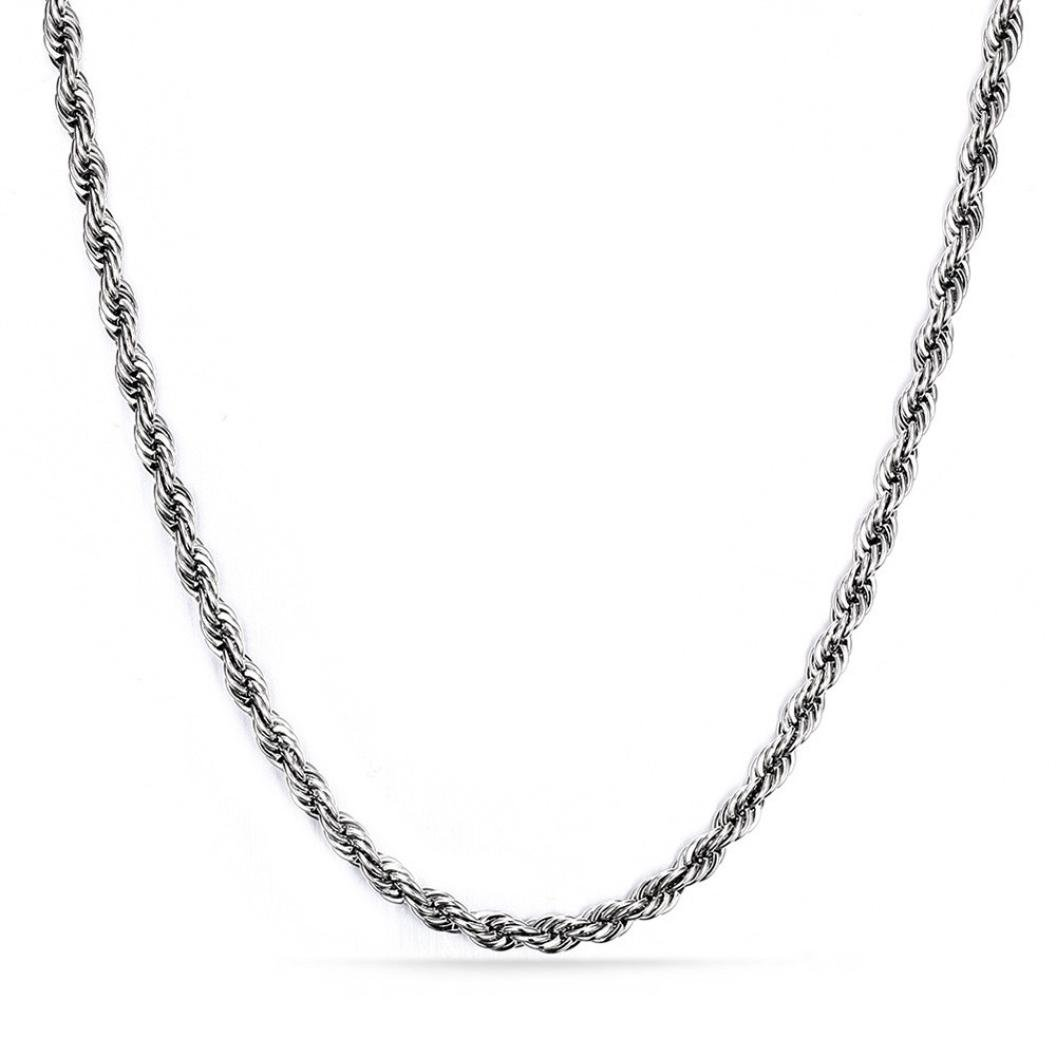 Nmch Necklace Chain,Hip Hop Women's 3mm Silver Stainless Steel Link Fashion Jewelry Gift (Sliver, 61cm 3mm)