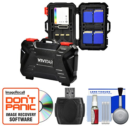 Vivitar Memory Card Hard Protector Case - Holds 4 CF, 8 SD & 12 MicroSD with Card Reader + Cleaning Kit by Vivitar
