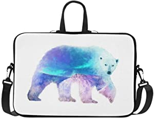 InterestPrint Funny Polar Bear with Mountain Landscape 15 15.6 Inch Waterproof Neoprene Laptop Sleeve Notebook Computer Case Shoulder Bag with Handle & Strap for Women Men