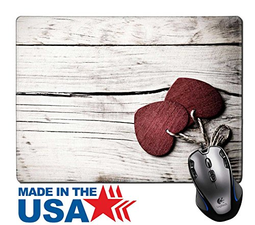 "MSD Natural Rubber Mouse Pad/Mat with Stitched Edges 9.8"" x 7.9"" Heart on a wooden background Vintage style 26150661 Customized Desktop Laptop Gaming Mouse Pad - Country Style Computer"