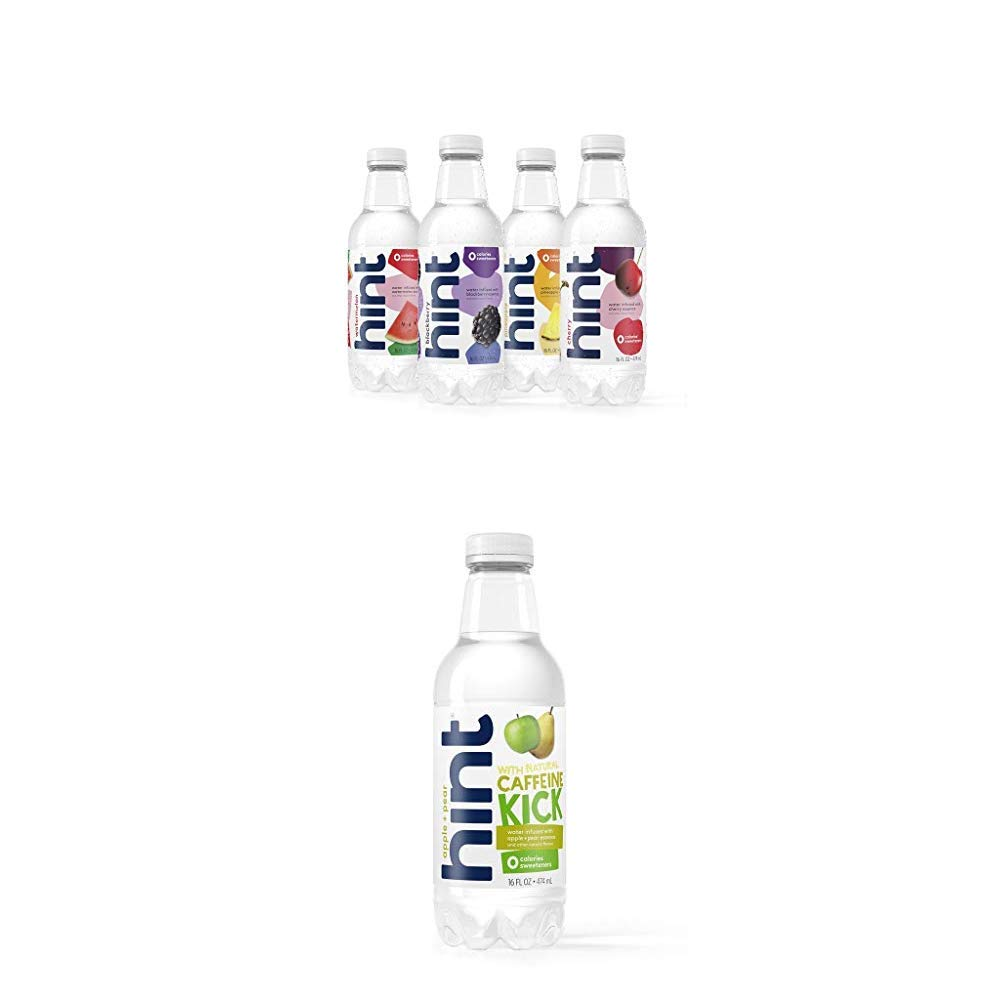 Hint Fruit Infused Water Variety Pack, (Pack of 12) 16 Ounce Bottles and Kick With Caffeine Water, Apple Pear, (Pack of 12) 16 Ounce Bottles