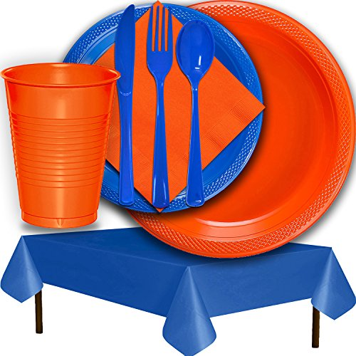 Plastic Party Supplies for 50 Guests - Orange and Dark Blue - Dinner Plates, Dessert Plates, Cups, Lunch Napkins, Cutlery, and Tablecloths - Premium Quality Tableware Set ()