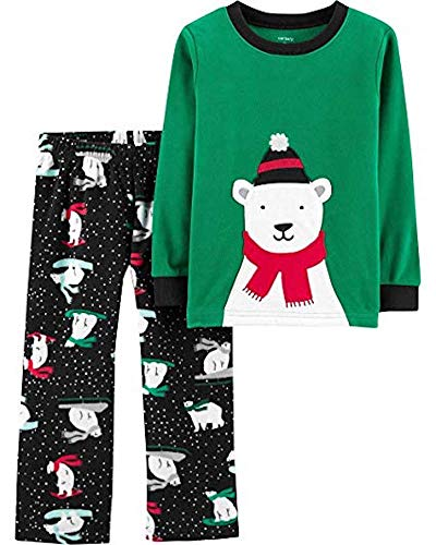 Carter's Boys' 2-Piece Cotton and Fleece Pajamas (Green/Polar Bear, 4T)