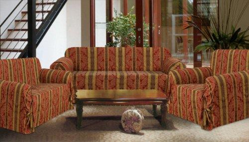 3 Piece Set Burgundy Brown Striped Sofa Loveseat Chair