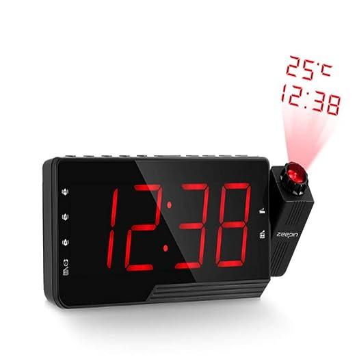 NAOZHONGa Proyector Digital Despertador Radio FM Radio LED Hora ...