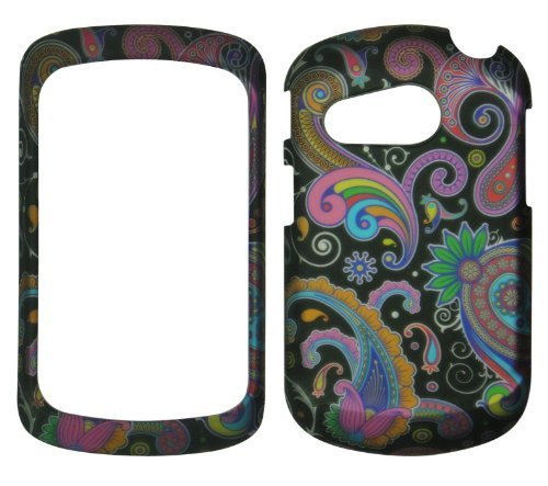 2D Black Paisley Pantech Swift P6020 slider AT&T Case Cover Hard Phone Case Snap-on Cover Rubberized Touch Protector Cases