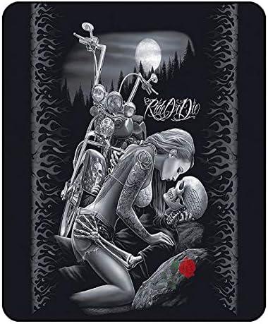 LYDXD Crâne Couverture Beauté Tour Rouge Rose Imprimé Noir Sherpa Polaire Couverture pour Adolescents Adultes Garçons Enfants 130x150cm