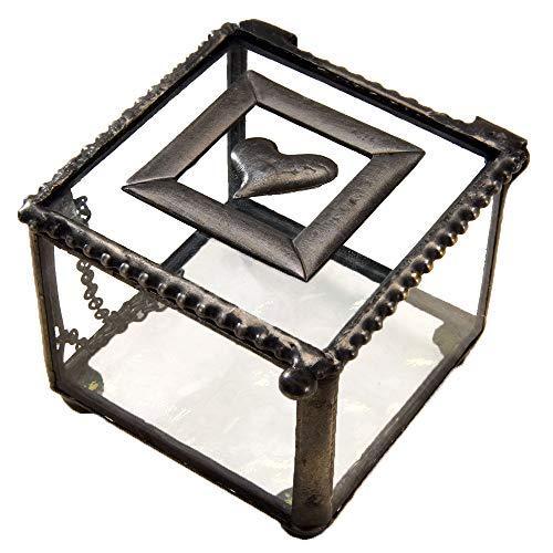 J Devlin Box 622 Metal and Glass Jewelry Keepsake Box Heart Accent Wedding Engagement Ring Box