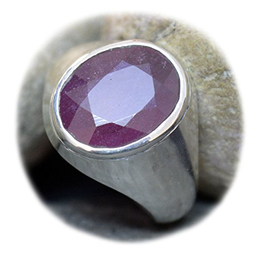 55Carat Natural Ruby Silver Ring For Men 7 Carat Oval Astrological Size 5,6,7,8,9,10,11,12,13 (Mens Ruby)