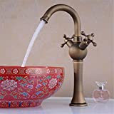 GAOF New Classic Double Single Hole Kitchen Faucet 360 Rotating Copper Antique Pots Vegetables Water Tap Sink Faucets HJ-6623F