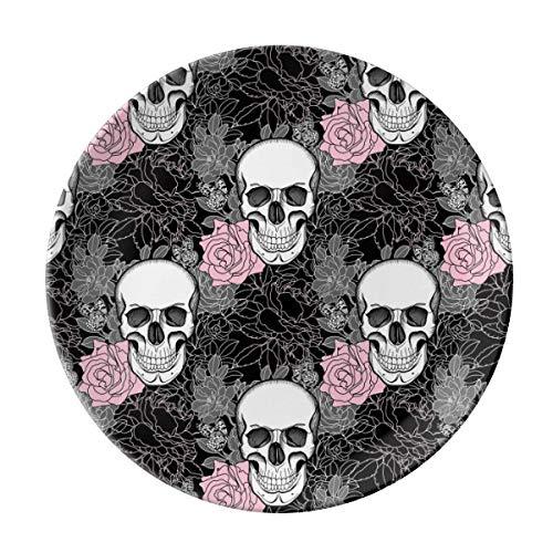 VunKo Rose Sugar Skull 8 Inch Plate Ceramic Dinner Plate Dinnerware Stoneware Halloween Home Decro Round Dish Dessert Plate]()