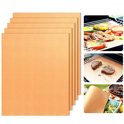 Copper Grill Mats Set of 5 - Non-Stick BBQ Grill Mat BBQ Grill & Baking Mats, Heavy Duty - Extended...