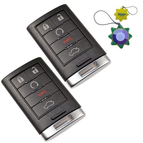 HQRP 2-Pack Remote Key Fob Shell Case Keyless Entry w/ 5 Buttons for Cadillac SRX 2010 2011 2012 2013 2014; XTS ATS 2013 2014 plus HQRP UV Meter