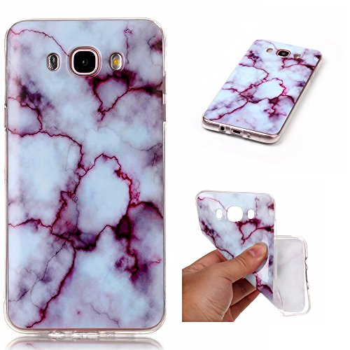Galaxy J7 2016 Case, Glossy Marble Pattern Slim Hard Soft Silicone Back Case Cover Fit for Samsung Galaxy J7 2016/ J710 (Soft Back Cover)