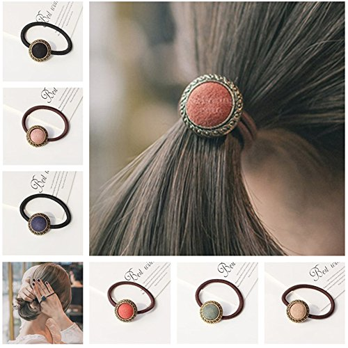 Casualfashion 6Pcs Elastic Hair Ties Rope Ponytail Holder Female Women Girls Hair -