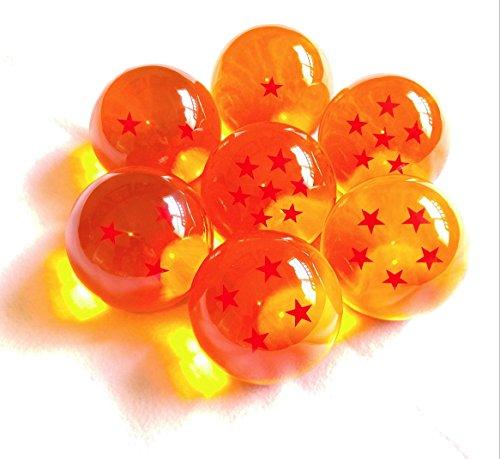 1 Complete Set of Seven Dragon Balls (1 Star Through 7 Star) 10cm / 100mm / 4 inches DBZ Dragonball Wish Orbs Yellow ()