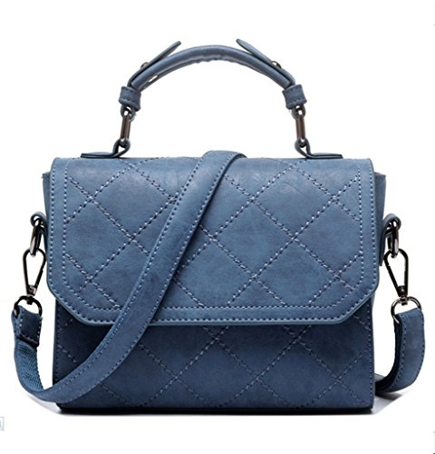 Katoony Womens Soild Quilted PU Leather Shoulder Satchel Purse Vintage Top Handle Handbag with Flip Flap (Medium Flap)