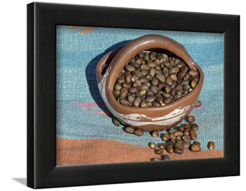 Native Pottery Southwestern American (ArtEdge Pinon Nuts, an Important Food of Southwestern Native Americans, in a Pueblo Indian Pottery Bowl Black Wall Art Framed Print, 9x12, Unmatted)