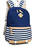 Leaper Cute Navy Style School Laptop Backpack Striped Canvas Bookbag Blue