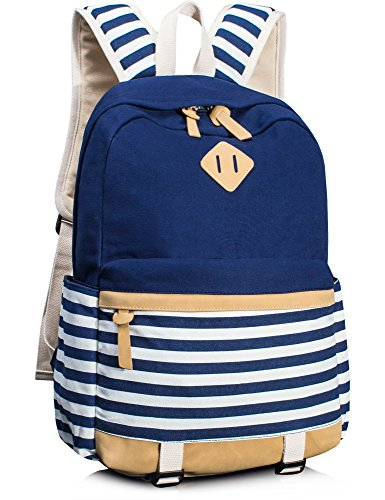 - Leaper Cute Navy Style School Laptop Backpack Striped Canvas Bookbag Blue
