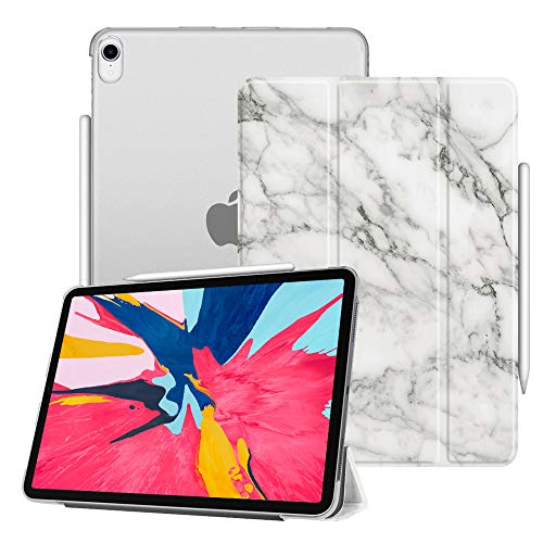 Fintie Case for iPad Pro 11 2018 [Supports 2nd Gen Pencil Charging Mode] - Lightweight SlimShell Cover with Translucent Frosted Back Protector, Auto Wake/Sleep for iPad Pro 11 2018, Marble White