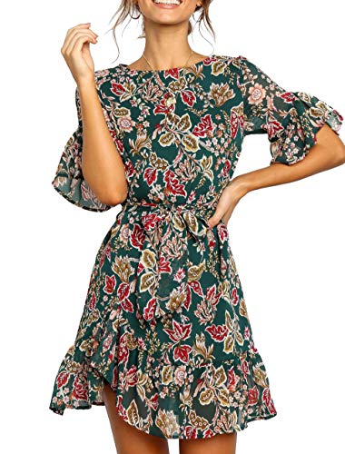 Tie Belt Mini - Youxiua Womens Floral Printed Ruffled Short Sleeve Bow Tie Wrap Office Party Short Mini Dresses with Belts Green