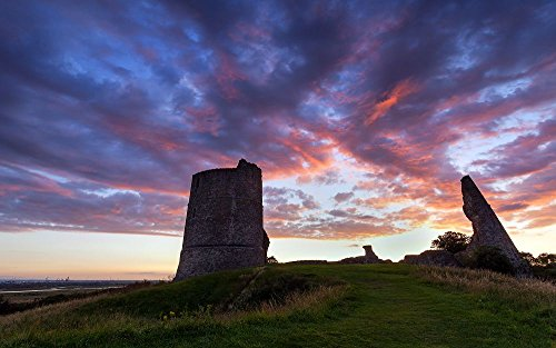 Big_Grin Hadleigh Castle By Fuzzypiggy - Art Print Wall Stickers, Posters - Wall Art for Home Decor - 24x16 inches (Castle Hadleigh)