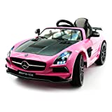 Mercedes SLS Final Edition Children Ride-On Car with R/C Parental Remote 12V Battery Power LED Wheels Lights + 5 Point Seat Belt + MP4 LCD TV Music Video Player + Rubber Floor Mat (Pink)
