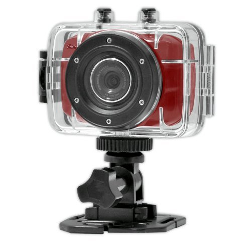 Gear-Pro High-Definition Sport Action Camera,720p Wide-Angle Camcorder With 2.0 Touch Screen - SD Card Slot, USB Plug And Mic - All Mounting Gear Included - For Biking, Riding, Racing, Skiing And Water Sports, Etc. - Red