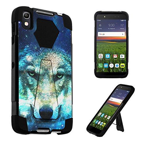 Alcatel Idol 4 Case / Alcatel Nitro 49 Case, DuroCase Transforma Kickstand Bumper Case for Alcatel Onetouch Idol 4 (Cricket) / Alcatel Nitro 49 (2016) - (Wolf In Space)