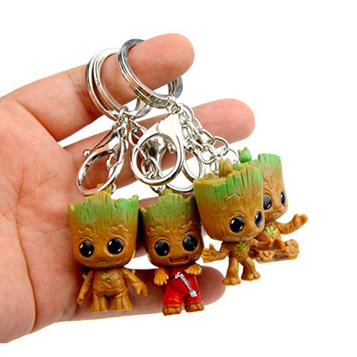 sunliveus Cute Baby Groot Keychain 4 Pack Anime Guardians of The Galaxy Q Version Treant Grote Miniature Key Chain Groot Pendant Key Ring Holder Best Toy Gifts for Women Couple Children Festival ()