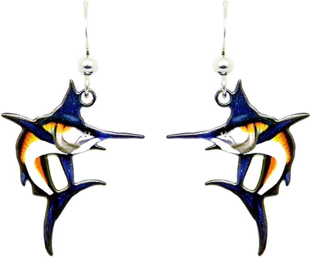 Marlin Fish Earrings by dears Non-Tarnish Sterling Silver French Hook Ear Wire