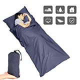 WAM Direct Sleeping Bag Liner, Camping Sheet 350g Lightweight with Built-in Pillow for Travel Hotel, Business Trip, Camping