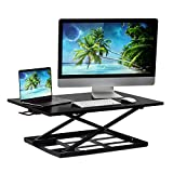 Mount-It! Ergonomic Height Adjustable Standing Desk, Preassembled Stand-Up Desk Converter, Holds up to 20 Pounds, Large Surface