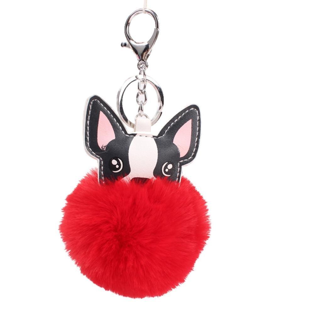 Dog finta pelliccia di coniglio Keychain Ball Fox Somesun portachiavi borsa peluche auto portachiavi ciondolo Gift 16cm, Pink, 16 cm