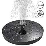 Vichoo Solar Fountain, 2.4W Free Standing Solar Powered Water Pump Solar Panel Kit with 4 Different Spray Pattern Heads for Bird Bath, Pond, Pool, Garden and Fish Tank