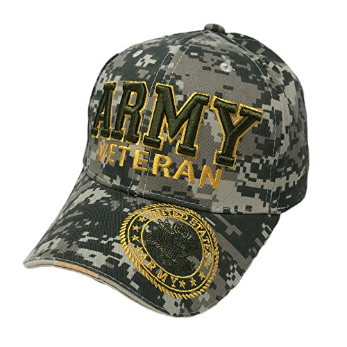 GREAT CAP Official Licensed Military Hat by US Warriors 3D Embroidered Military Hat - Army Veteran CAMO (Army Veteran Cap)