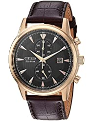 Citizen Mens Eco-Drive Quartz Stainless Steel and Leather Dress Watch, Color:Brown (Model: CA7003-06E)