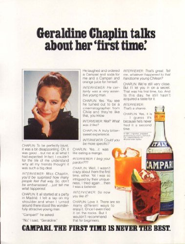 Geraldine Chaplin for Campari Aperitif ad 1981