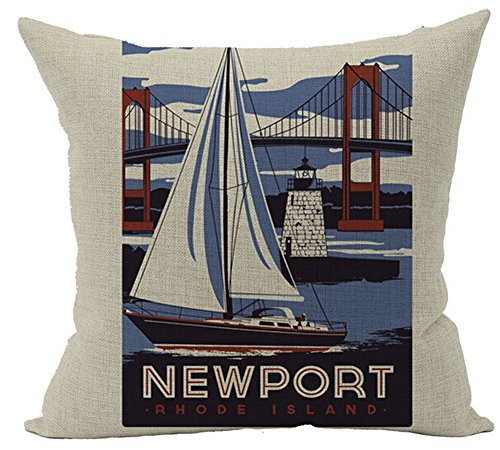 Rhode Island Linen - Creative Retro Meaningful Buildings And Tourist Attractions Newport Rhode Island Cotton Linen Throw Pillow Case Personalized Cushion Cover NEW Home Office Decorative Square 18 X 18 Inches