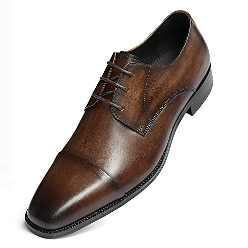 Modern Men's Leather Leather up Dark Perforated Lined GIFENNSE Oxfords Dress Handmade Brown Classic Shoes Lace 3 F4HEgqw