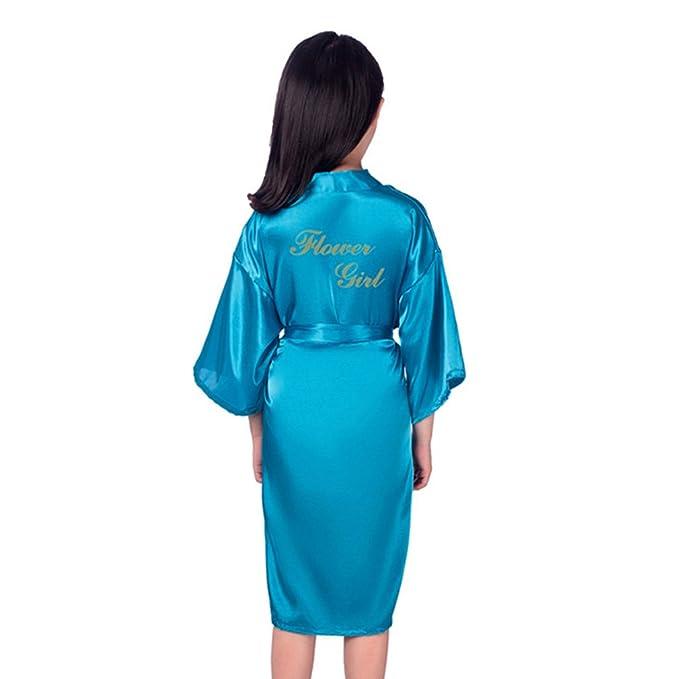 yunhou Kimono para Niñas Satén de Seda Kimono Batas Albornoz Ropa de Dormir Robe Gown Silk Kimono Robe Wedding Party: Amazon.es: Ropa y accesorios