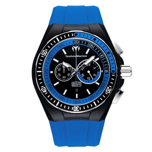 TechnoMarine Men s 110021 Cruise Sport Chronograph Black and Blue Dial Watch