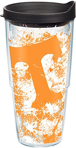 Tervis 1140204 Tennessee Volunteers Splatter Tumbler with Wrap and Black Lid 24oz, (Tennessee Volunteers Tervis Tumbler)